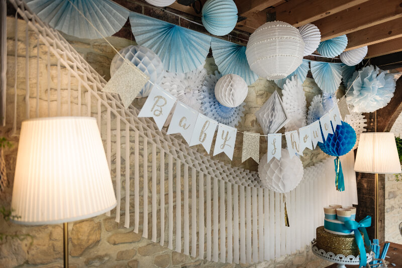 baby shower bleu et or