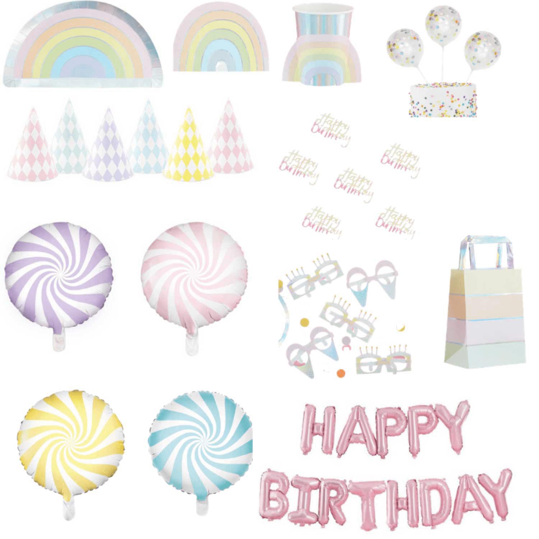 Kit décoration anniversaire arc-en-ciel pastel