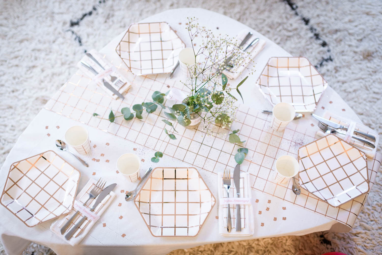 Décoration table rose gold carreaux